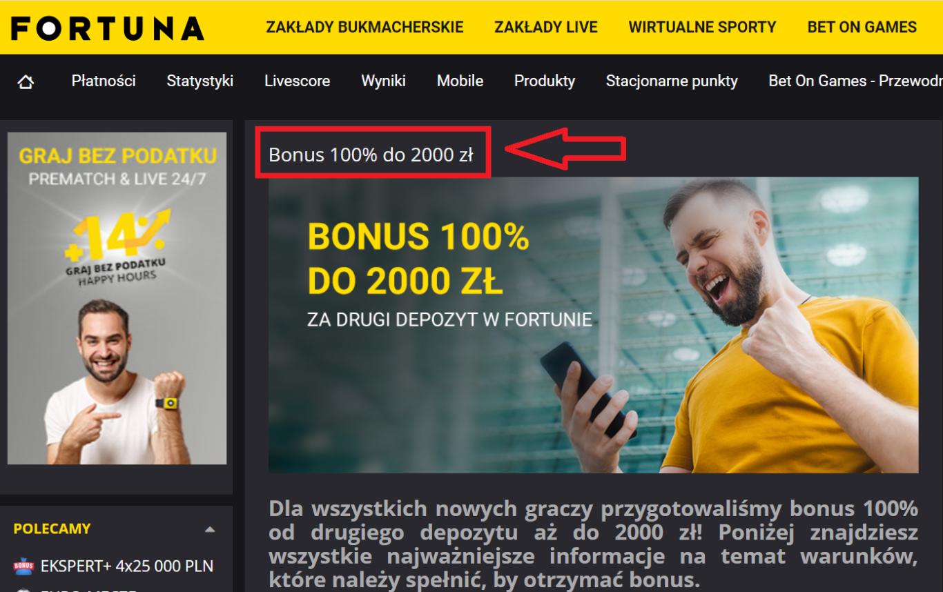 Fortuna bonus – zakład bez ryzyka